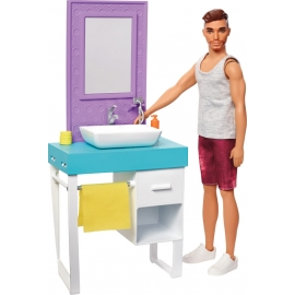 Mattel FYK53 Barbie Ken Puppe & Möbel Bathroom