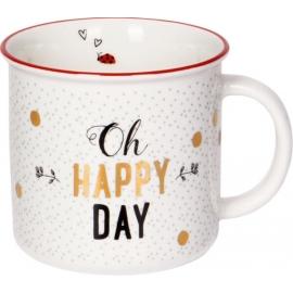 Porzellan-Tasse Oh happy day Viel Glück