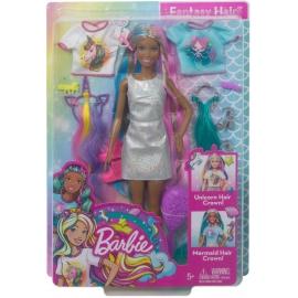 Mattel - Barbie Fantasie-Haar Puppe brünett, Meerjungfrau- und Einhorn-Look, Anz