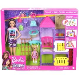 Mattel - Barbie Skipper Babysitter, Spielplatz-Spielset mit Puppen und formbarem