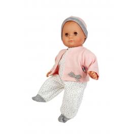 Schildkröt Puppe Schlummerle 32 cm mit Malhaar und braunen Schlafaugen, Overall weiß mit Tuppfen und