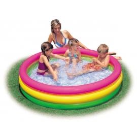 Intex BabyPool Sunset Glow, Wasserbedarf ca 131l, aufblasbarer Boden, 3- Ringe, ab 2 Jahre, 114x