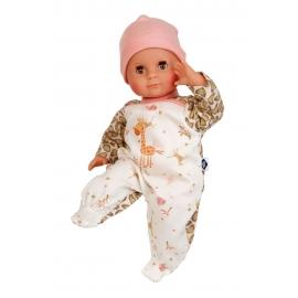 Schildkröt Puppe Schlummerle 32 cm mit Malhaar und braunen Schlafaugen, Overall weiß/braun/rose