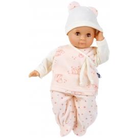 Schildkröt Puppe Schlummerle 32 cm mit Malhaar und braunen Schlafaugen, Nickyanzug rose/weiss