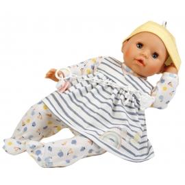 Schildkröt Baby Amy 45 cm mit Schnuller, Malhaar, blaue Schlafaugen, Kleid weiß/blau/gelb