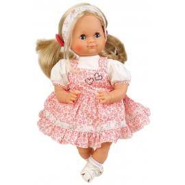 Schildkröt Puppe Schlummerle 32 cm blonde Haare, blaue Schlafaugen, Sommerkleidung rose/weiss