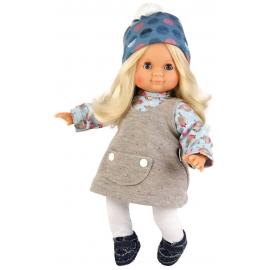 Schildkröt Puppe Schlummerle 32 cm blonde Haare, blaue Schlafaugen, Winterkleidung blau/grau/weiss
