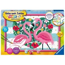 Ravensburger 28782 Malen nach Zahlen Liebenswerte Flamingos