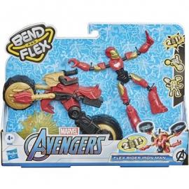 Hasbo - Marvel Bend and Flex, Flex Rider Iron Man mit 2-in-1 Motorrad