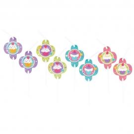 8 Trinkhalme Cupcake 24 cm