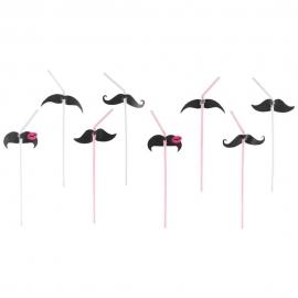 8 Trinkhalme Moustache