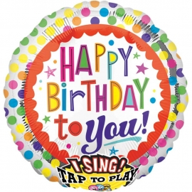 Sing-A-Tune Happy Birthday to You Dots Folienballon P60 verpackt 71 x 71 cm