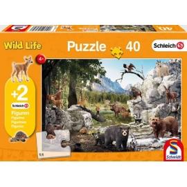 Schmidt Spiele - Puzzle - Schleich - Die Tiere des Waldes, 40 Teile