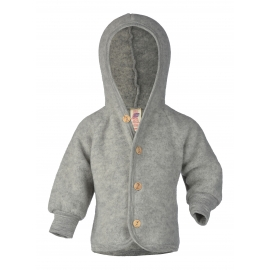 Baby-Kapuzenjacke mit Holzknöpfen, Fleece