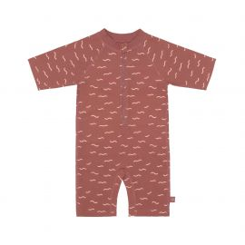 LSF Short Sleeve Sunsuit Waves rosewood, 18 months