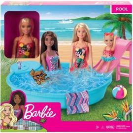 Mattel - Barbie Pool Spielset mit Puppe blond, Anziehpuppe, Barbie Möbel, Barbie