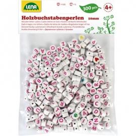 Lena - Holz-Buchstabenperlen, weiß/rosa, 300-tlg., Beutel